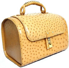 Auth Jardin des Sacs Genuine Ostrich Leather Light Brown Vanity Hand Bag Purse I