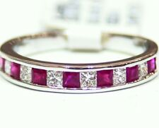 Designer 14K Solid Gold Natural Ruby Diamond Anniversary Wedding Band Ring Retro