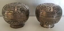 Pair Chinese Sterling Silver Phoenix Bowls Qing Dynasty 170g