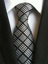 123KT men 100% silk neck tie black white houndstooth waterproof party gift ties