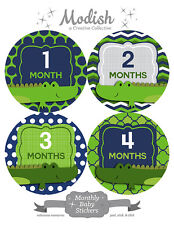 FREE GIFT, Monthly Baby Stickers, Baby Boy, Alligators, Green, Navy Blue