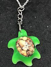 "Sea Turtle & Starfish Small Resin Green Charm Tibetan Silver 18"" Necklace D204"