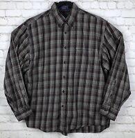 PENDLETON MEN'S OXFORD SHIRT CANTERBURY CLOTH Brown PLAID Size XL