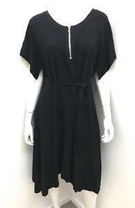 EUPHORIA NZ black self print  tie waist pocket zip neck dress ~ sz 16