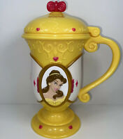 "Disney On Ice BELLE 7"" Souvenir Plastic Princess Cup Mug Flip Lid BEAUTY & BEAST"