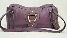 Genuine Leather Dark Purple Plum Eggplant Gold Accents Handbag Purse