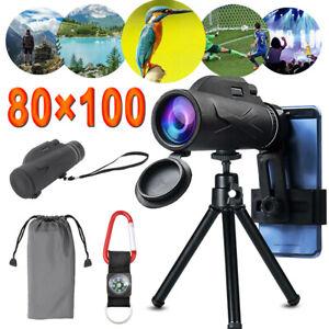 80X100 HD Zoom Monocular Telescope Phone Camera Starscope Hiking Hunting Tripod