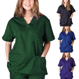 Women Nurse Nursing Uniform Short Sleeve T-shirt Unisex V-Neck Scrub Blouse Top