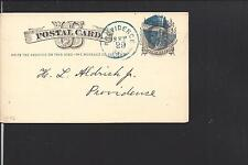 "PROVIDENCE, RHODE ISLAND,1876 GOVERNMENT POSTAL CARD. ""WARWICK YACHT CLUB."""