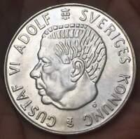 1955 TS Sweden 5 Krono  Silver 18 GM Gustaf VI. Adolf **AU/UNC** BU LUSTER COIN