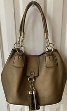 Charming Charlie Shoulder Handbag Bucket Purse Bronze PU Leather (Faux) Gld Hdwr