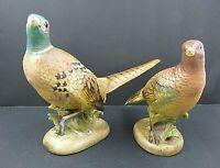 Pair of NAPCO Rring Necked Pheasant Figurines Ceramic 1962 C-5481 + C-5487