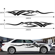 Body Side Graphics Racing stripes Car truck sticker decal 2PCS Flame tribe Black