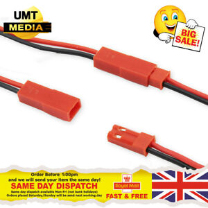 JST Plug and Socket connectors RC Li-Po Battery leads 2P Red and Black Wire UK