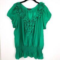 Allen B Women's Blouse sz L Lg Green Short Sleeve Cotton Silk Boho
