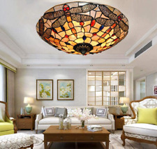 Retro Classic Stained Glass Chandelier Flush Mount Tiffany Ceiling Light Fixture