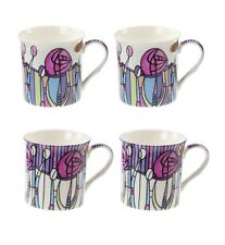 Set di 4, Mackintosh Art Deco Stile Stampa Design Fine China Tazze Di Caffè Tè Tazze
