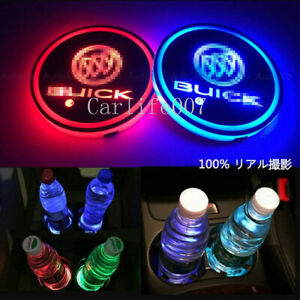 2PCS LED Car Cup Holder Pad Coaster Light 7 Colors Changing USB Charge for Buick
