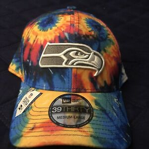 Seattle Seahawks CRUCIAL CATCH 39THIRTY TIE DYE Stretch Fit Hat (Medium/Large)