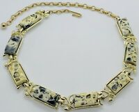 Vintage Signed Coro Thermoset Confetti Lucite Gold Tone Necklace Excellent