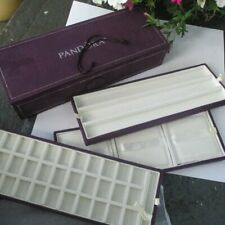 Pandora 3 Tier Tray Purple Suede Jewelry Charm Organizer Box Travel read
