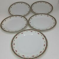 Victoria China Czechoslovakia Gold Floral Salad Bread Dessert Plates Set5 7.5""