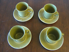 Set of 4 Franciscan Earthenware Coffee Mugs/Cups & Saucers Pebble Beach Pattern