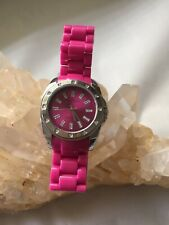 Girls Anne Klein Fusia Pink Acrylic Bracelet Watch With New Battery