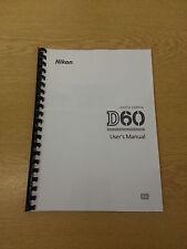 NIKON D60 DGITAL CAMERA FULLY PRINTED A5 USER MANUAL GUIDE HANDBOOK 204 PAGES