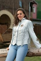 Women Suede Western Style Leather Jacket With Fringe