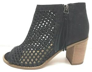 Vince Camuto Size 8.5 Black Leather Ankle Boots Open Toe New Womens Shoes
