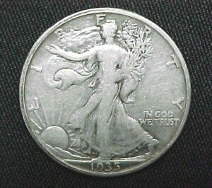 1935 Liberty Walking Silver Half Dollar circulated ungraded coin,