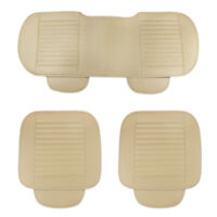 3pcs/Set PU leather Beige Universal Sedan Car Seat Cover Protector Pads Cushion