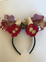 Disneyland Park Enchanted Red Rose Gold Minnie Mouse Ears Hat Disney Headband