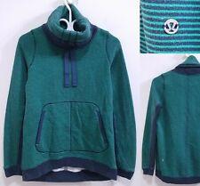 Lululemon Green Navy Blue Sweater Size 10 Large Thick Collar Yoga Sweatshirt