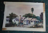 Original Watercolor Florida Cottages marked F. Strothmann '82