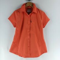 Columbia Womens Size M 8-10 Omni-Shade Sportswear Shirt Coral Orange ShortSleeve