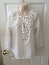 New LUCKY BRAND Peasant Top White 3/4 Sleeve Embroidered Eyelet Size S  NWT $99