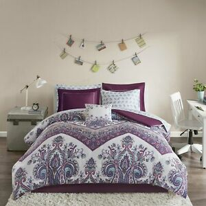 Twin XL Full Queen Bed Bag Purple Blue Floral Damask 9 pc Comforter Sheet Set