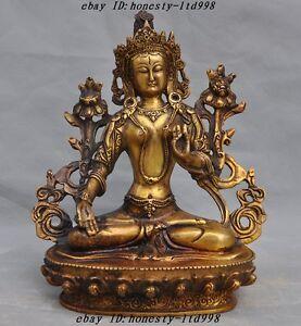Old Tibet Buddhism Gilt Bronze White Tara Goddess Kwan-yin Guanyin Buddha Statue