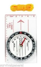 Pocket Map Compass w/Ruler Lanyard For Survival Kits & Camping Emergency Outdoor
