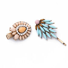 2PCS Sets Blue Feather Hairpins Hair Wear Barrettes Accessories Bijoux Jewelry