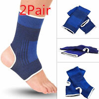 2 Pair ANKLE Support Wrap Elastic Brace Sleeve Muscle Arthritis Pain Relief Gym