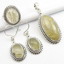 Golden Rutile Pendant Earrings Ring #7.5 Free Shipping & Gift Box 925 Silver