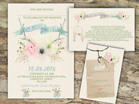 PERSONALISED RUSTIC WATERCOLOUR PASTEL FLORAL ANTLER WEDDING INVITATIONS 10'S