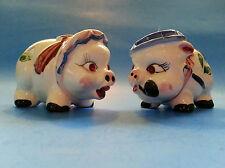 Vintage Japan PIG PIGGY BANKS PAIR Red Rhinestone Eyes Top Hat & Bonnet