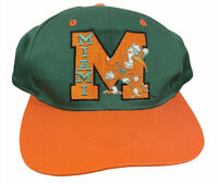 Vintage 90s Miami Hurricanes NCAA Football Arch Snapback Baseball Cap Hat