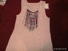 justice - girls size 16  tan fringe flowy tank top-- nwt