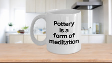 Pottery Mug White Coffee Cup Funny Gift for Potter Artist Handmade Creator Sculp