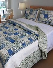 Shabby Chic Queen / King Bedspread Set Throw Coverlet Quilt Blue Green Cream